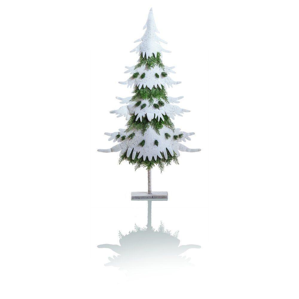 Sapin ouate blanc h.130cm avec branches sapin vert (photo)