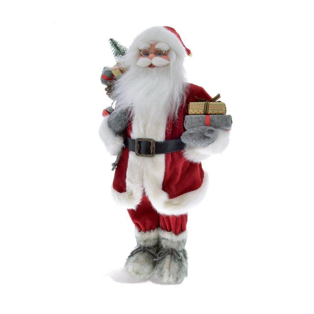 Père Noël velours rouge h.45cm tenant cadeaux (photo)