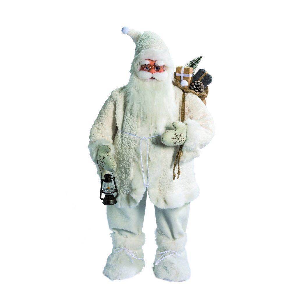Père Noël blanc avec lanterne et sac h.90cm (photo)