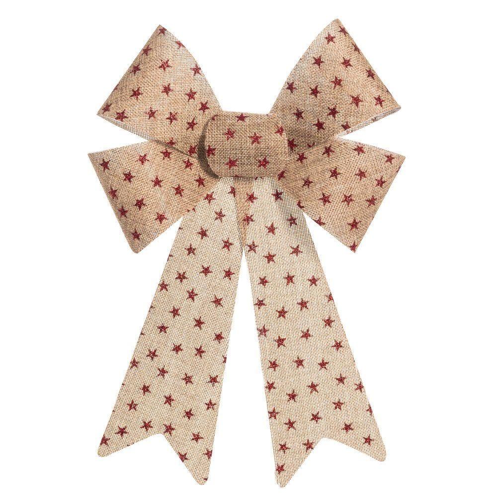 Noeud en jute beige décor étoiles rouges 23x35cm (photo)