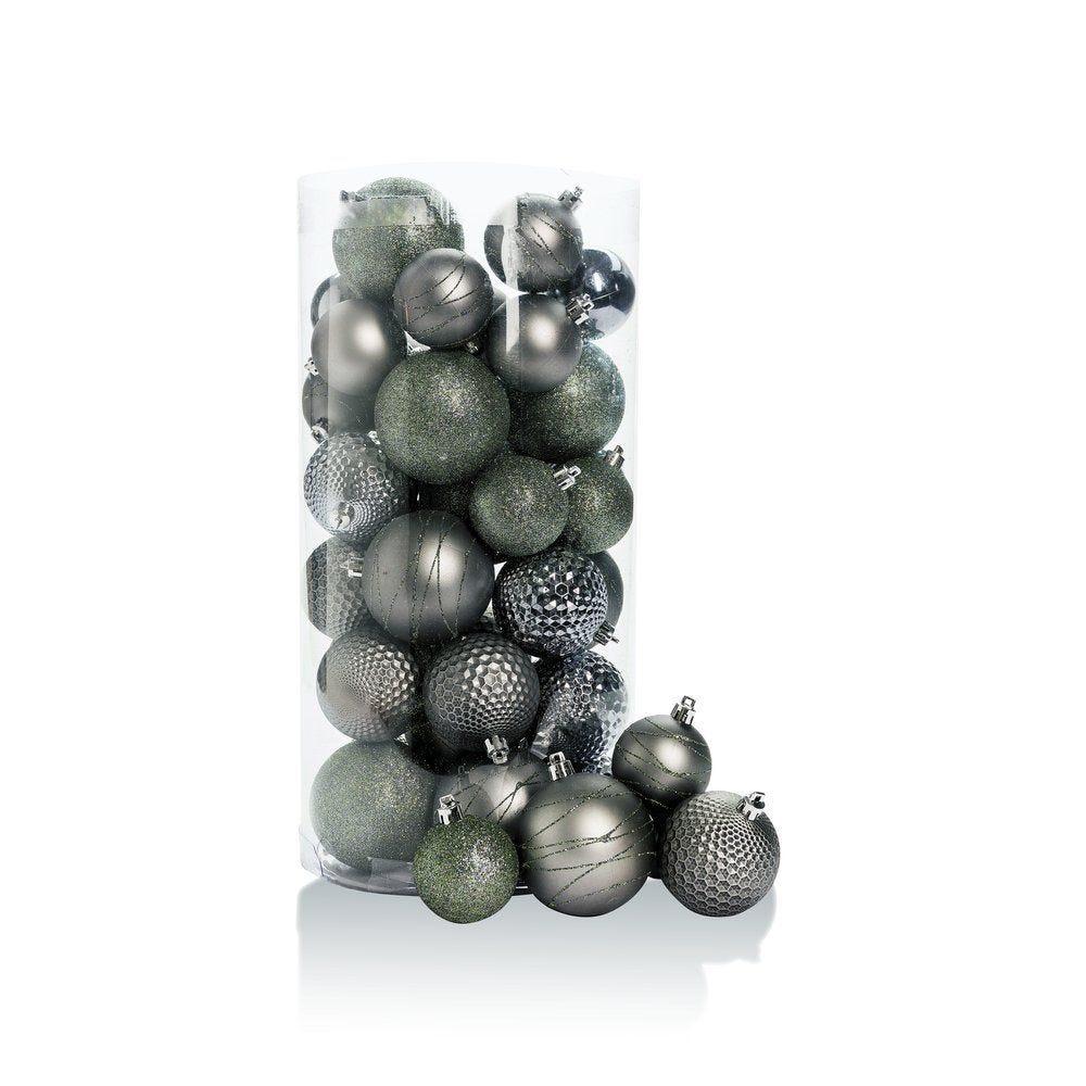 Boules en plastique anthracite d.6 à 8 cm finitions assorties - boite de 44