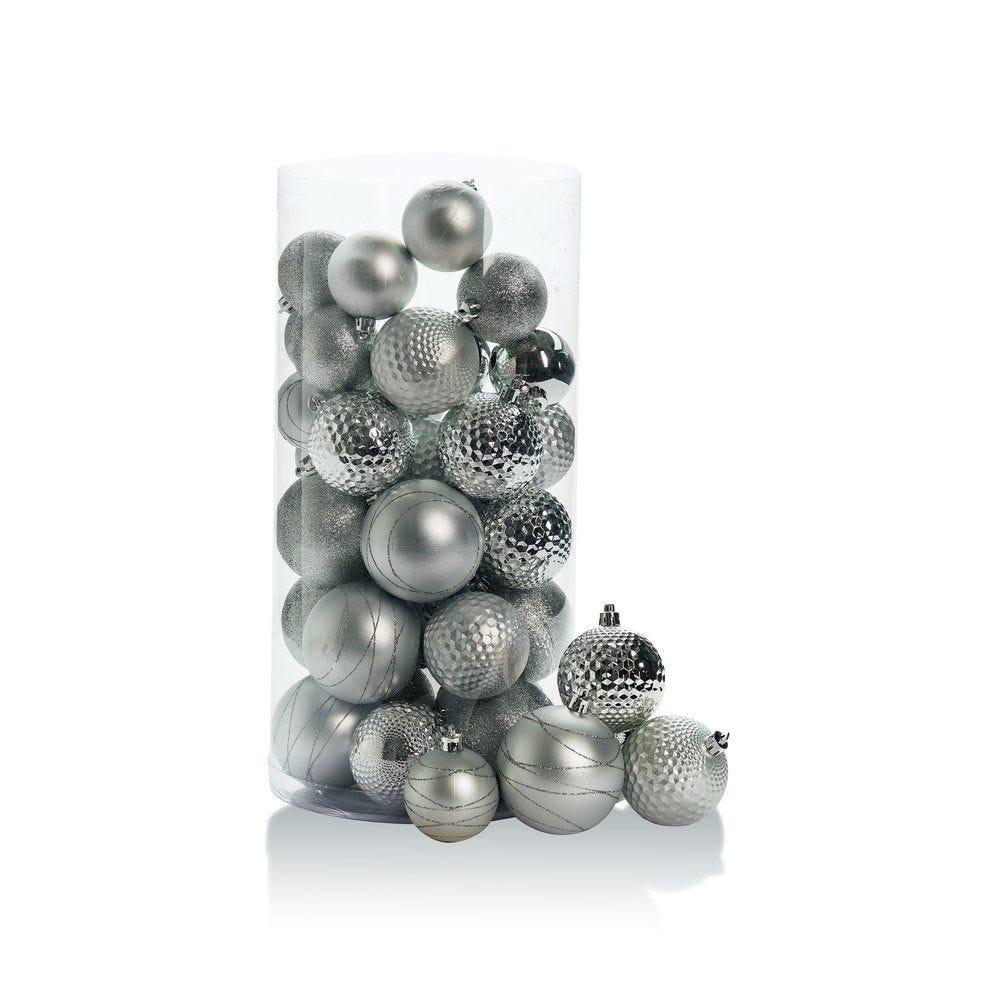 Boules en plastique gris clair d.6 à 8 cm finitions assorties - boite de 44