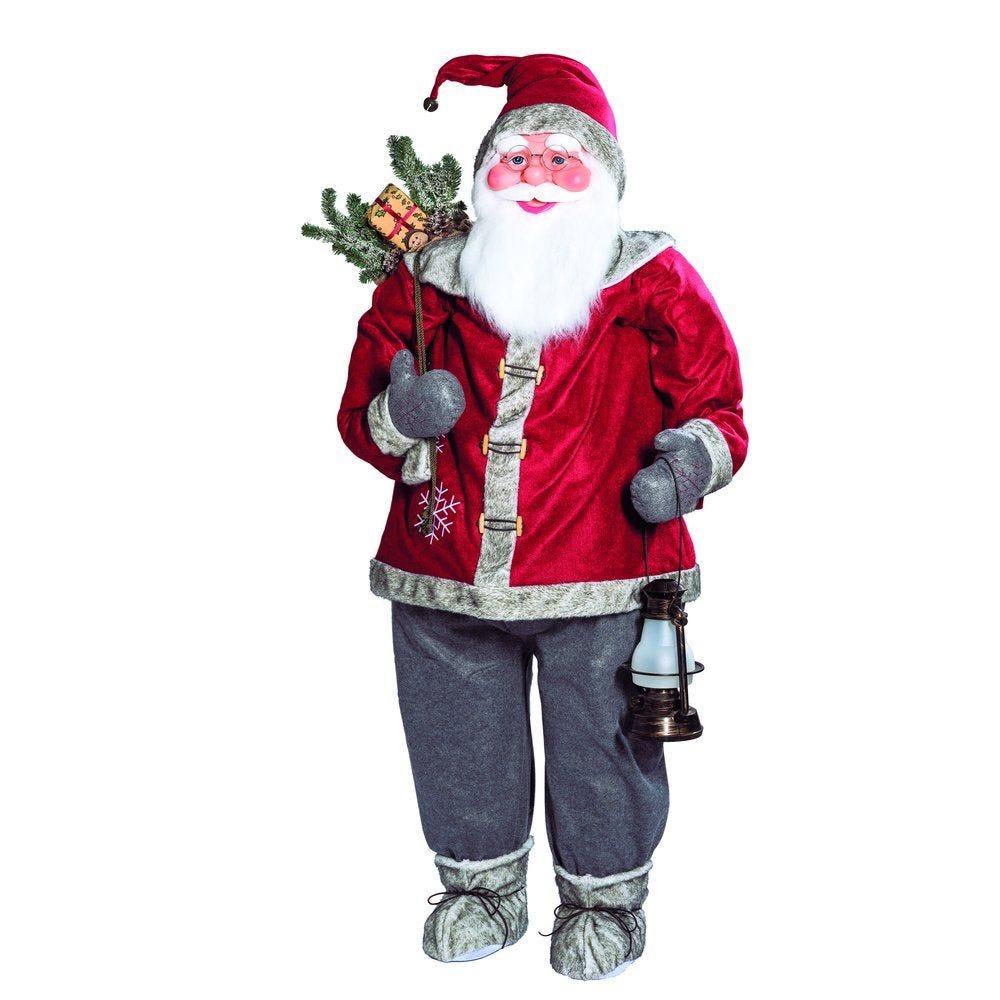 Père Noël rouge h.180 cm avec lanterne et sac (photo)