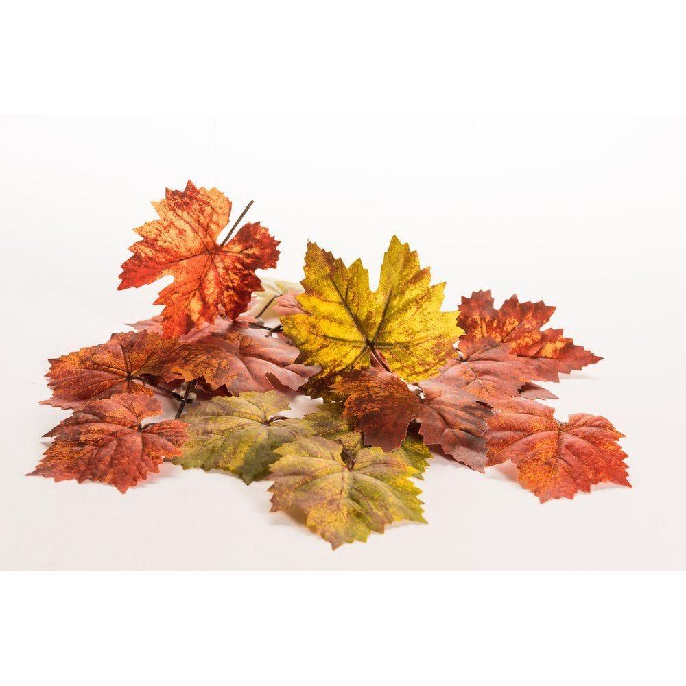 Feuilles d'automne vertes et oranges assorties - sachet de 30 pièces (photo)
