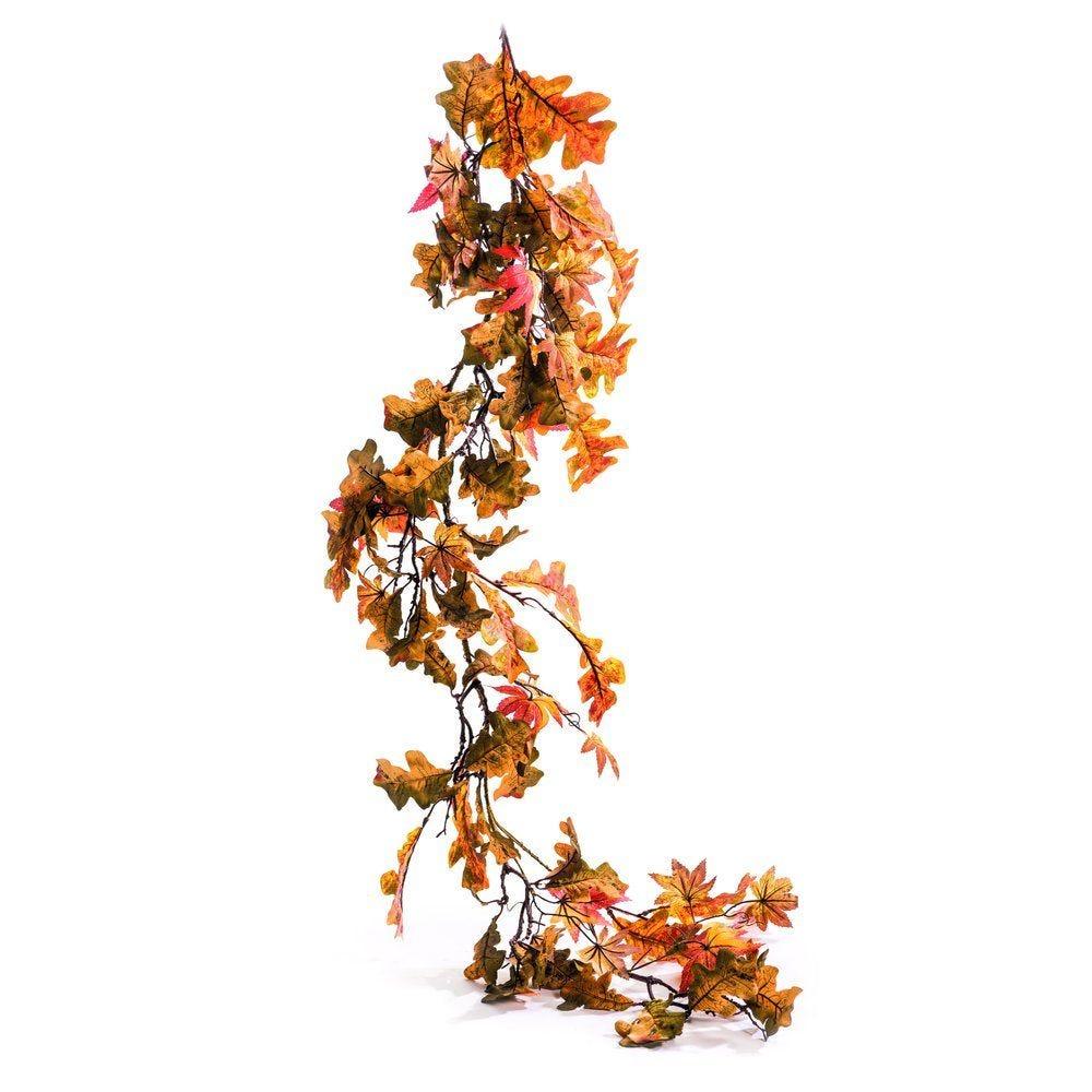 Guirlande de feuilles d'automne vertes et oranges L.180cm (photo)