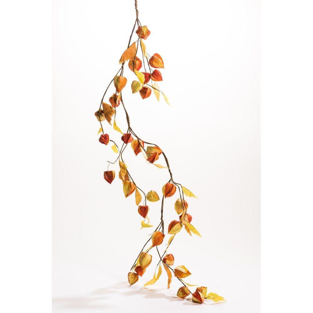 Guirlande de physalis orange et vert L.150cm (photo)