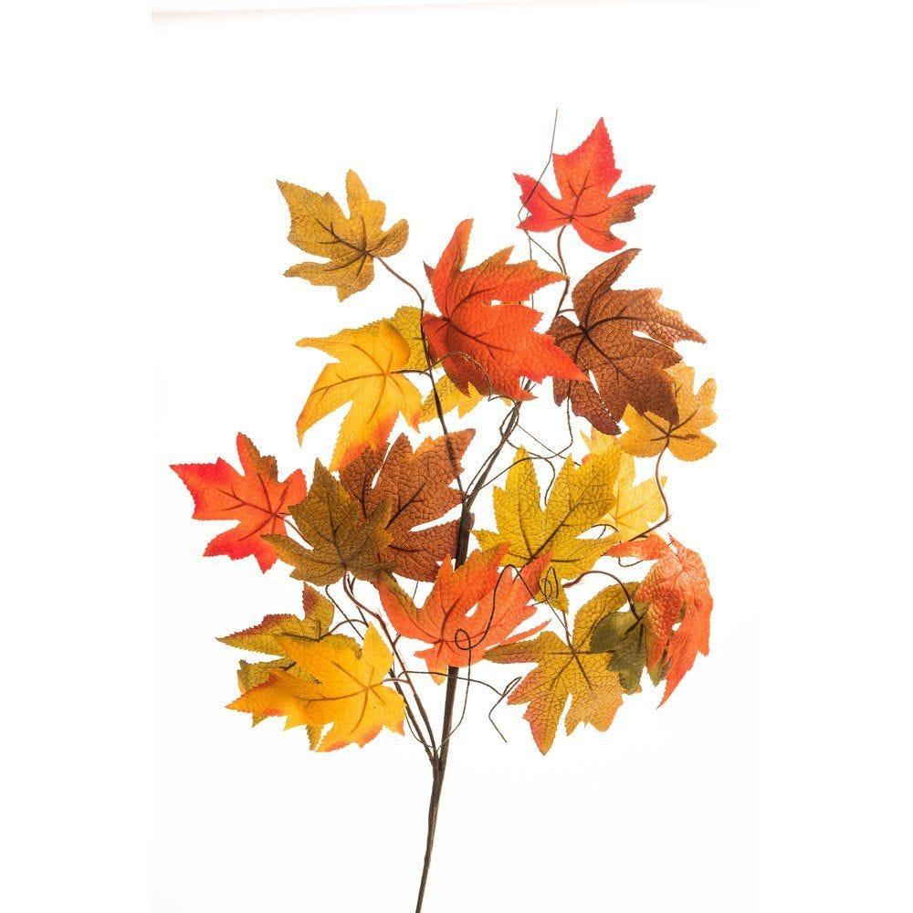 Piquet de feuilles d'automne vertes et oranges L.75cm (photo)