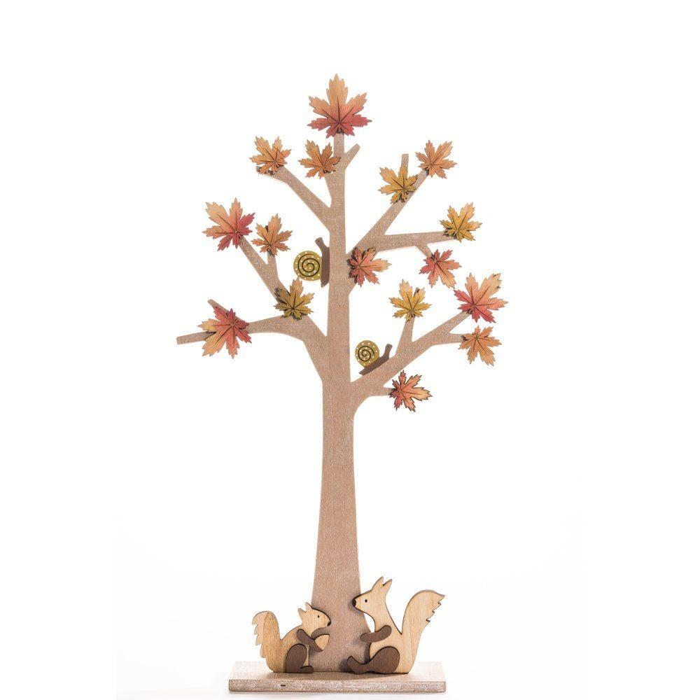 Arbre avec feuilles en bois et écureuils sur socle 26x50cm (photo)