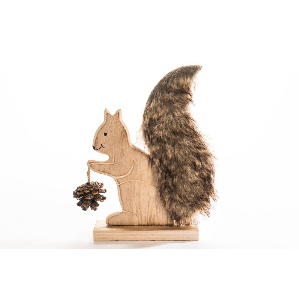 Ecureuil en bois sur socle tenant une pomme de pin h.18,5cm (photo)