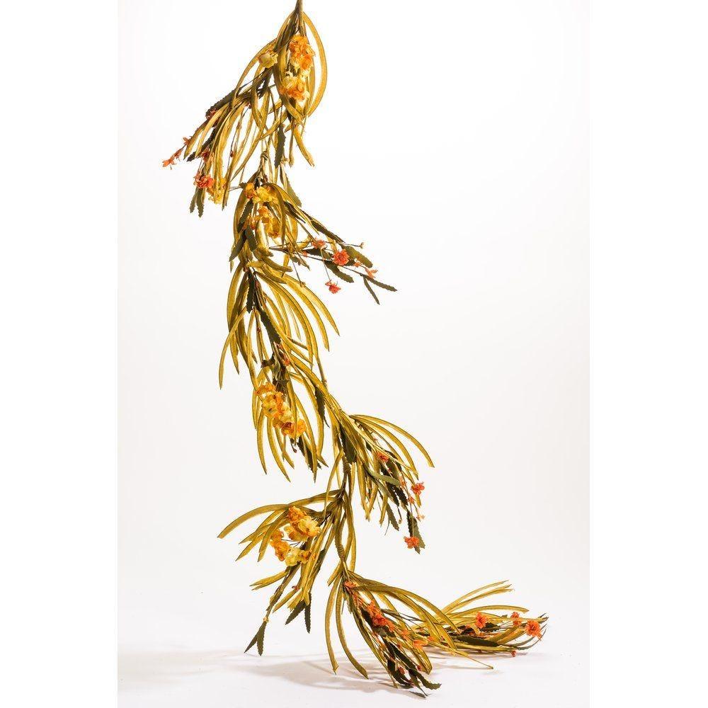 Guirlande de fleurs oranges et jaunes L.165cm (photo)