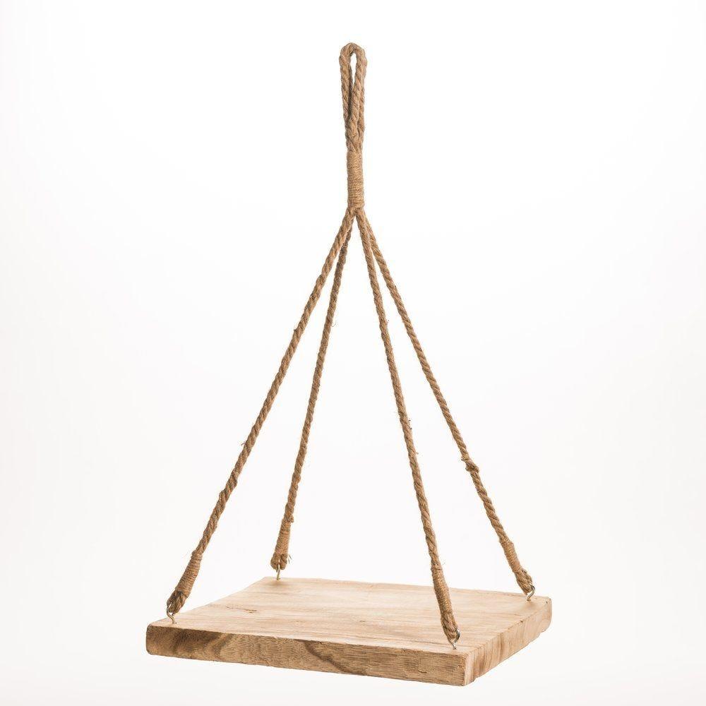 Suspension plateau en bois rectangulaire 36x36x66cm (photo)
