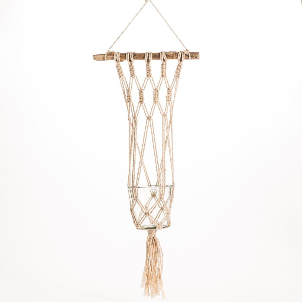 Suspension macramé avec pot en verre 35x15x92cm (photo)