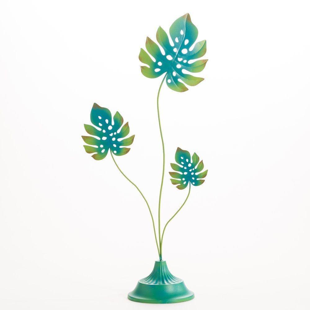 Feuilles bleu/vert sur socle 19x12,5x53cm (photo)