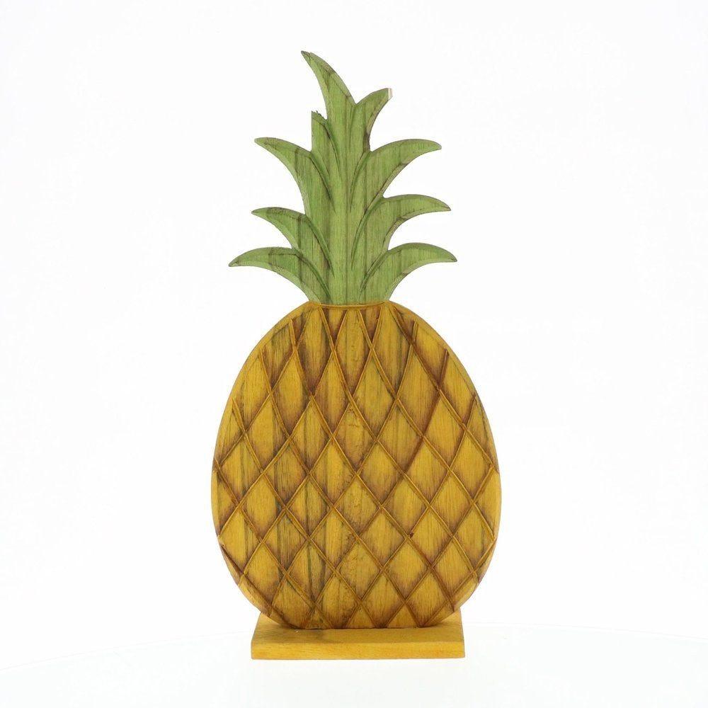 Ananas en bois à poser 15,5x6x32cm (photo)