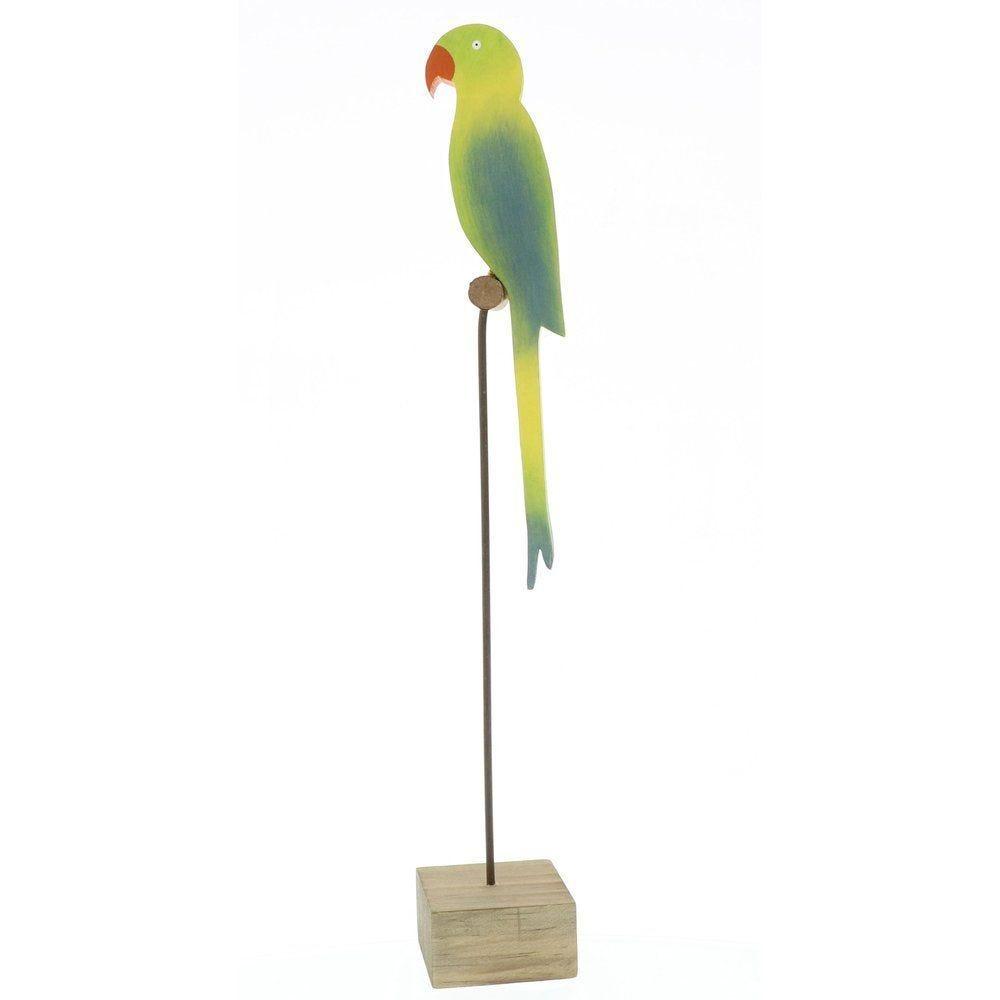 Perroquet en bois sur perchoir 7x7x46cm (photo)