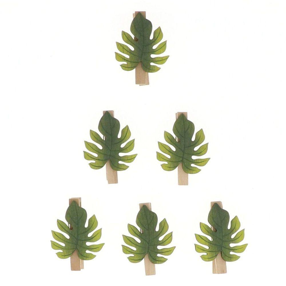 Feuilles clips en bois 6x4,5cm - par 6 (photo)