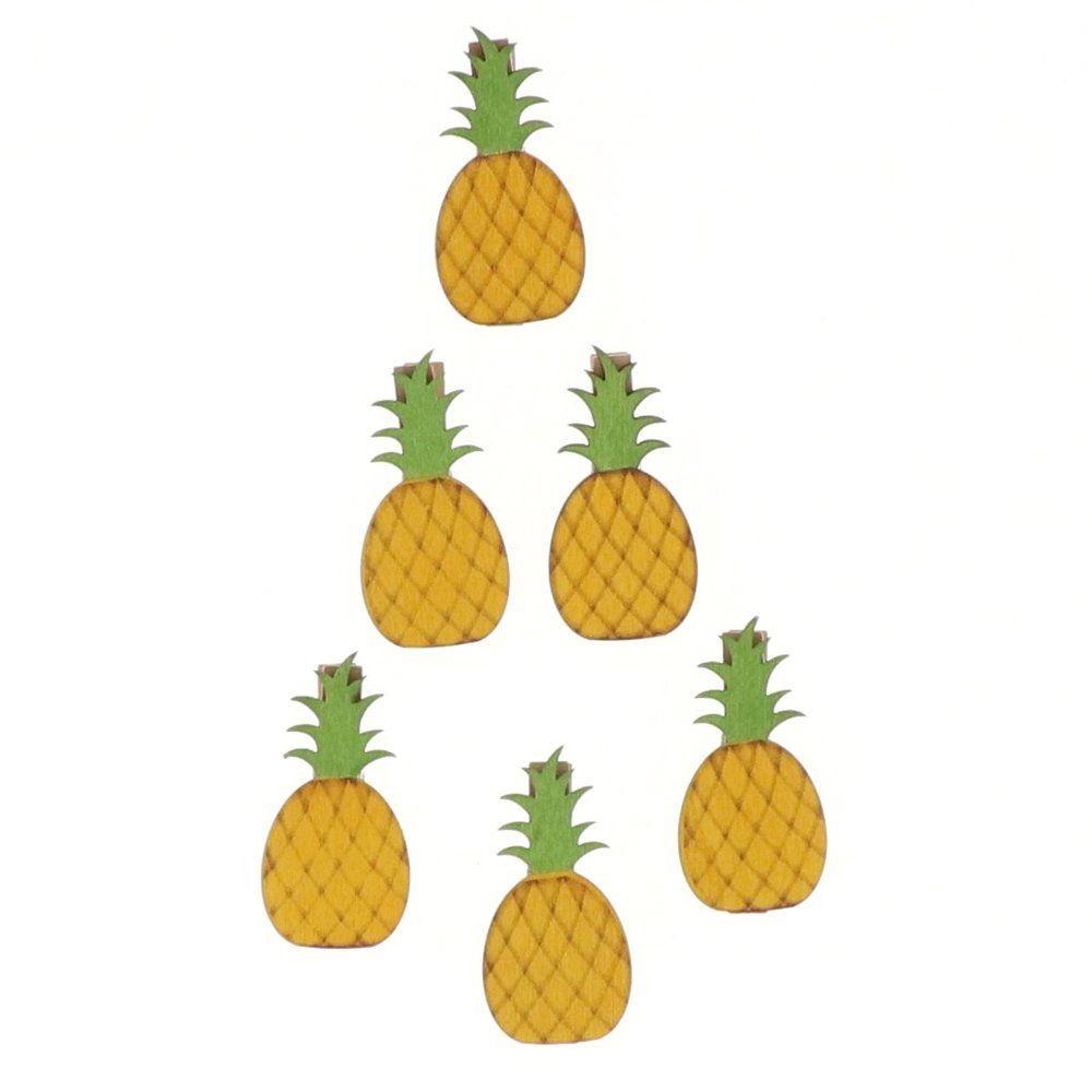 Ananas clips en bois 6x4,5cm - par 6 (photo)
