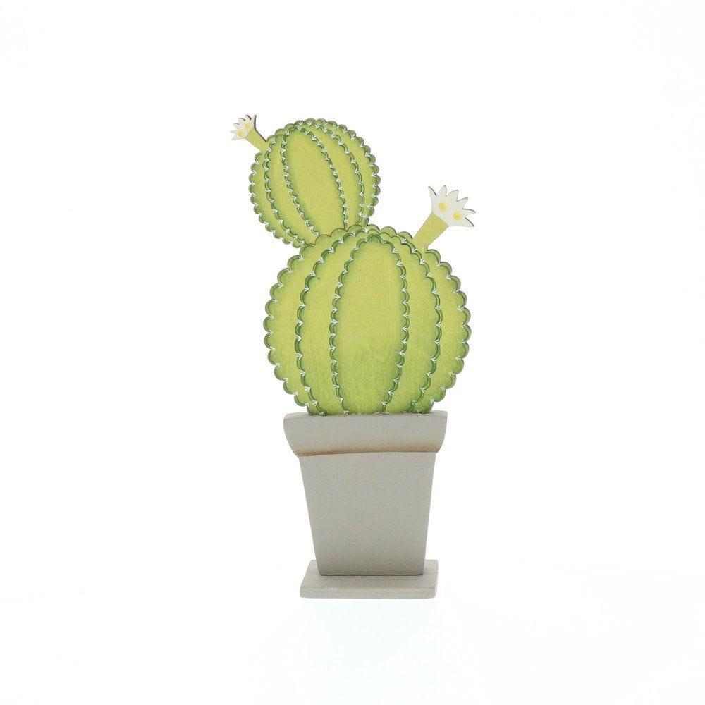 Cactus vert en bois à poser 12x4,5x24cm (photo)
