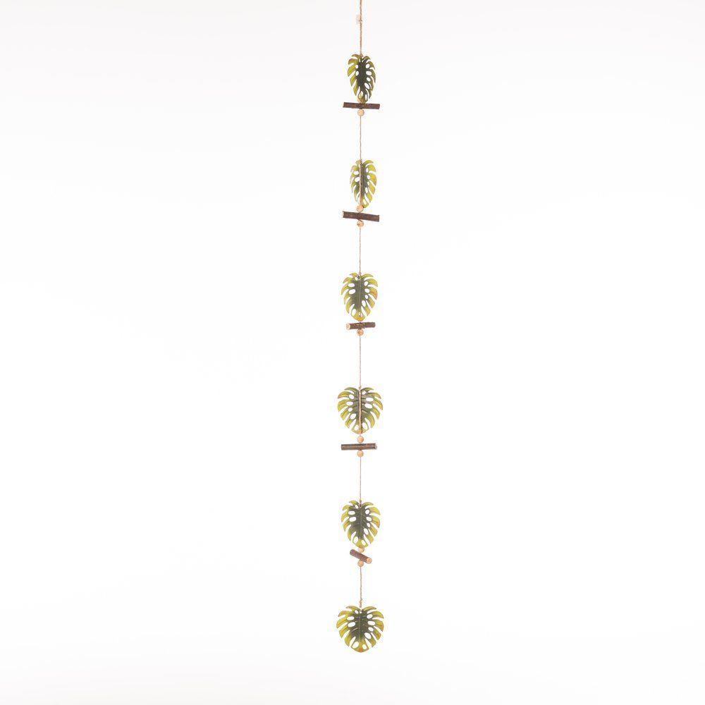 Guirlande de feuilles en bois vertes L.115cm (photo)