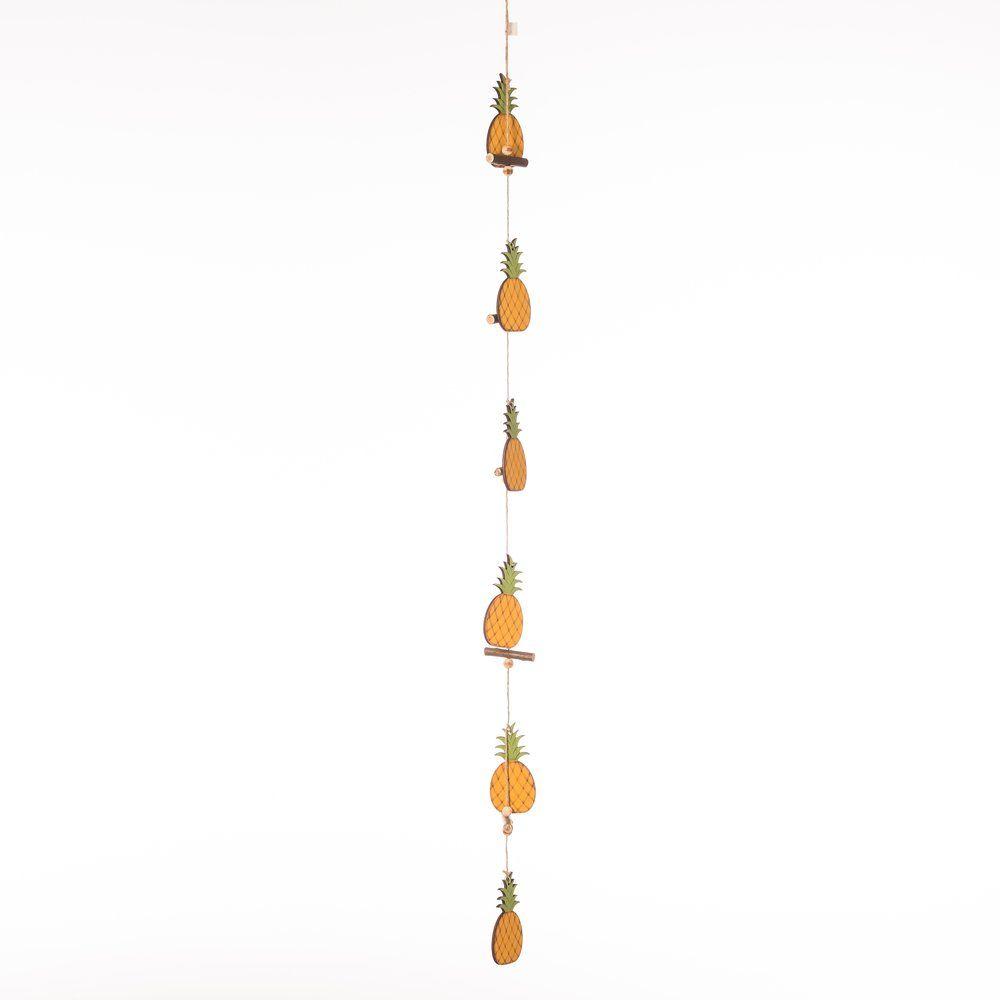 Guirlande de 6 ananas en bois L.115cm (photo)