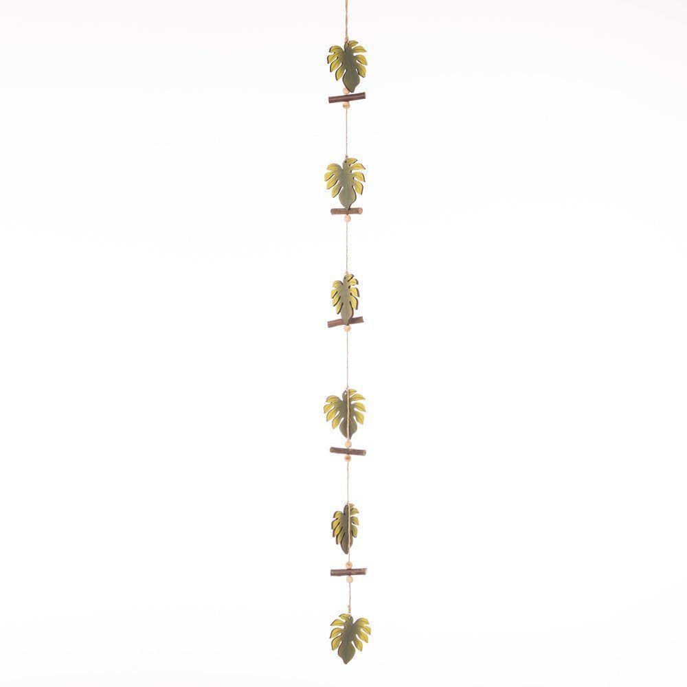 Guirlande feuilles vertes métal L.113cm (photo)