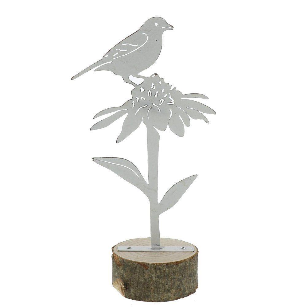 Oiseau métal blanc sur socle en bois h.24cm - 2 modèles possibles (photo)