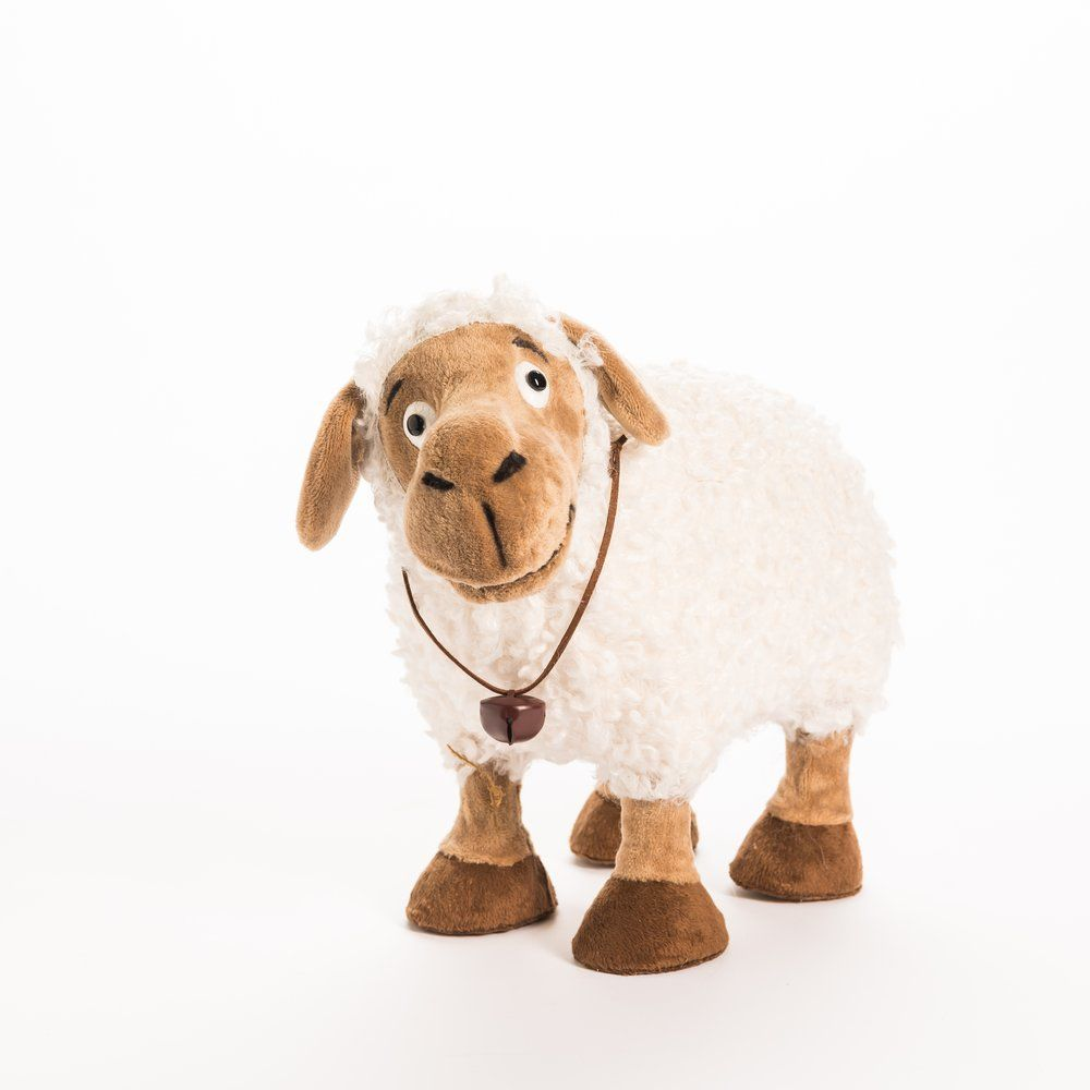 Mouton blanc et marron 30x17x27cm (photo)