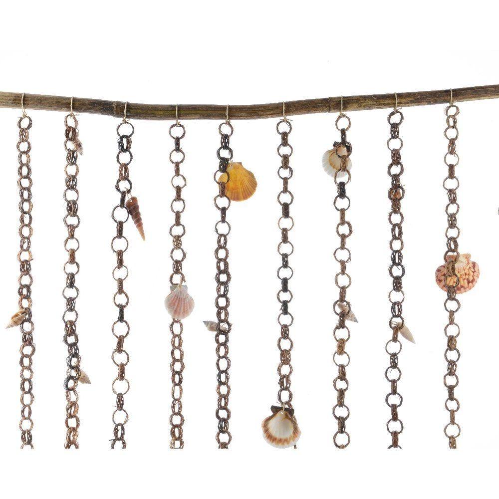 Rideau de chaines avec coquillages 90x140cm (photo)