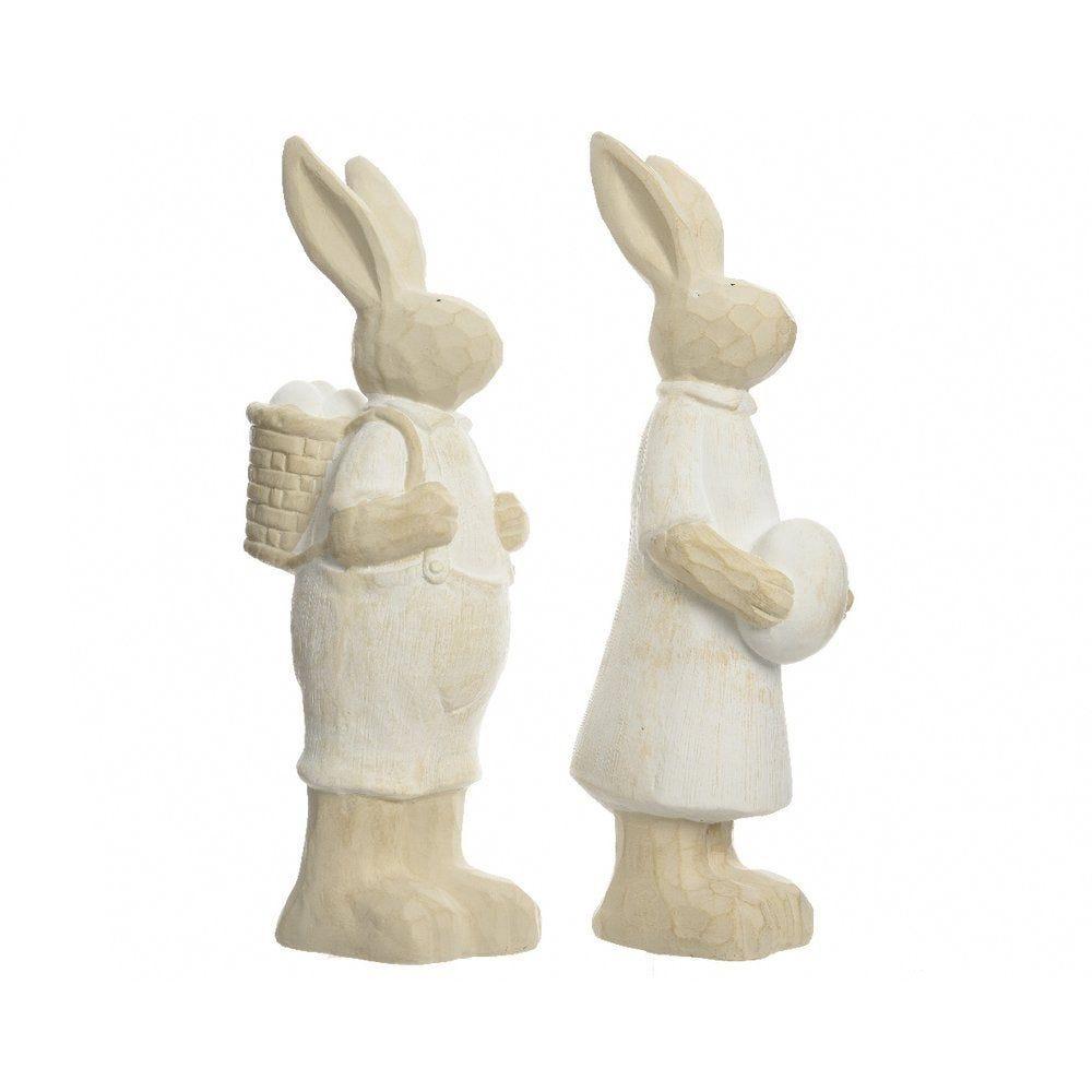 Lapin(e) en magnésie blanc et beige H.51cm 2 modèles possibles (photo)