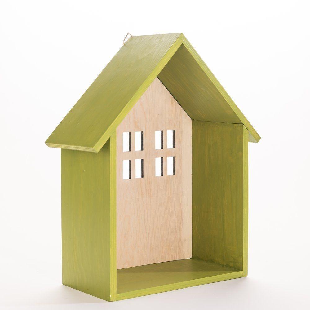 Support maison en bois vert 35x15x42cm (photo)