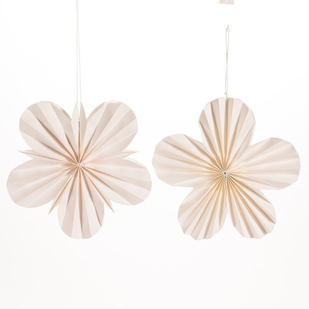 Fleur en papier blanc d.30 et 40cm - set de 2 (photo)