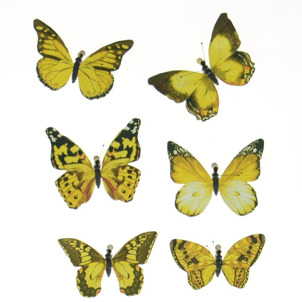 Papillons jaune ou vert assortis par 6 - 2 modèles possibles (photo)
