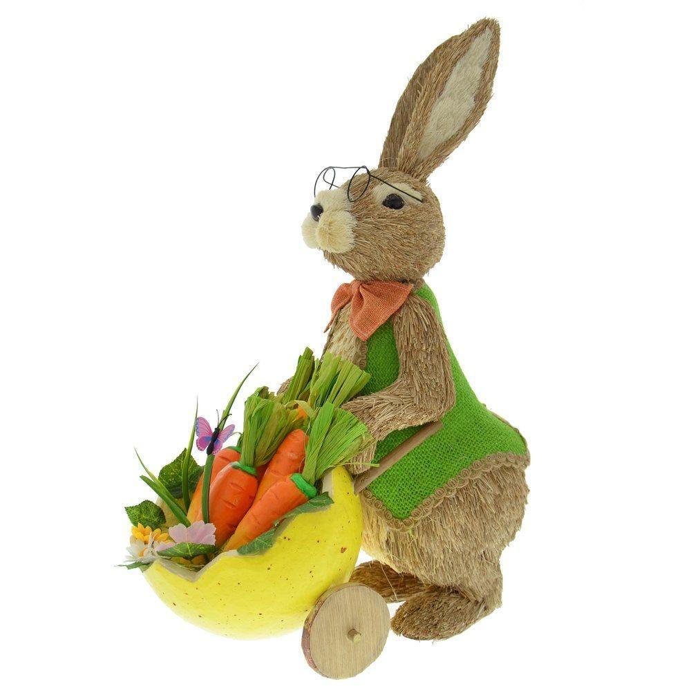 Lapin tenant brouette de carottes 31x17x38cm (photo)