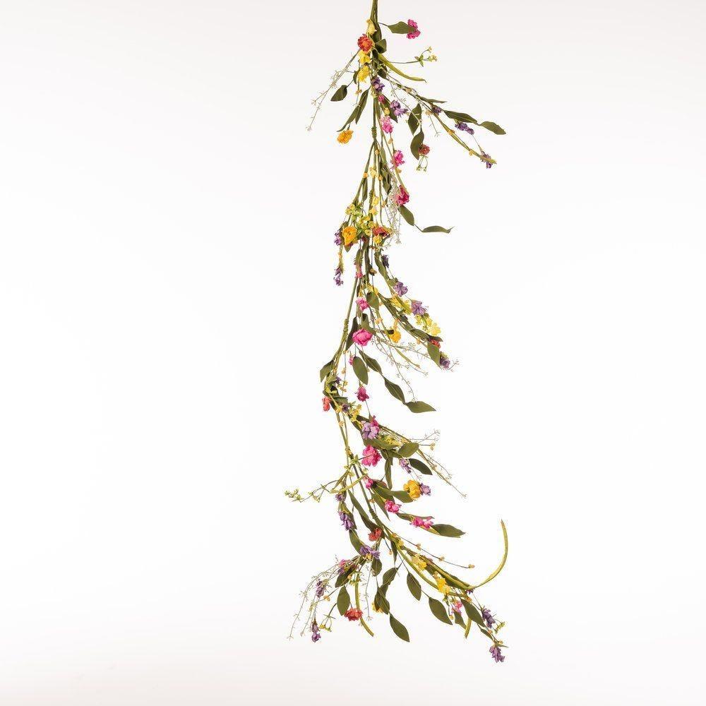 Guirlande de fleurs multicolores L.115cm (photo)
