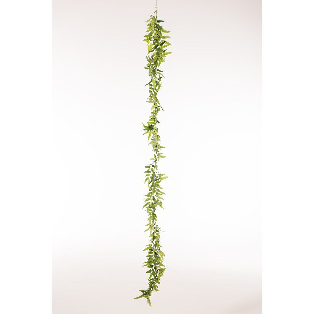Guirlande de feuilles de bambou vertes Diam. 9cm L.180cm