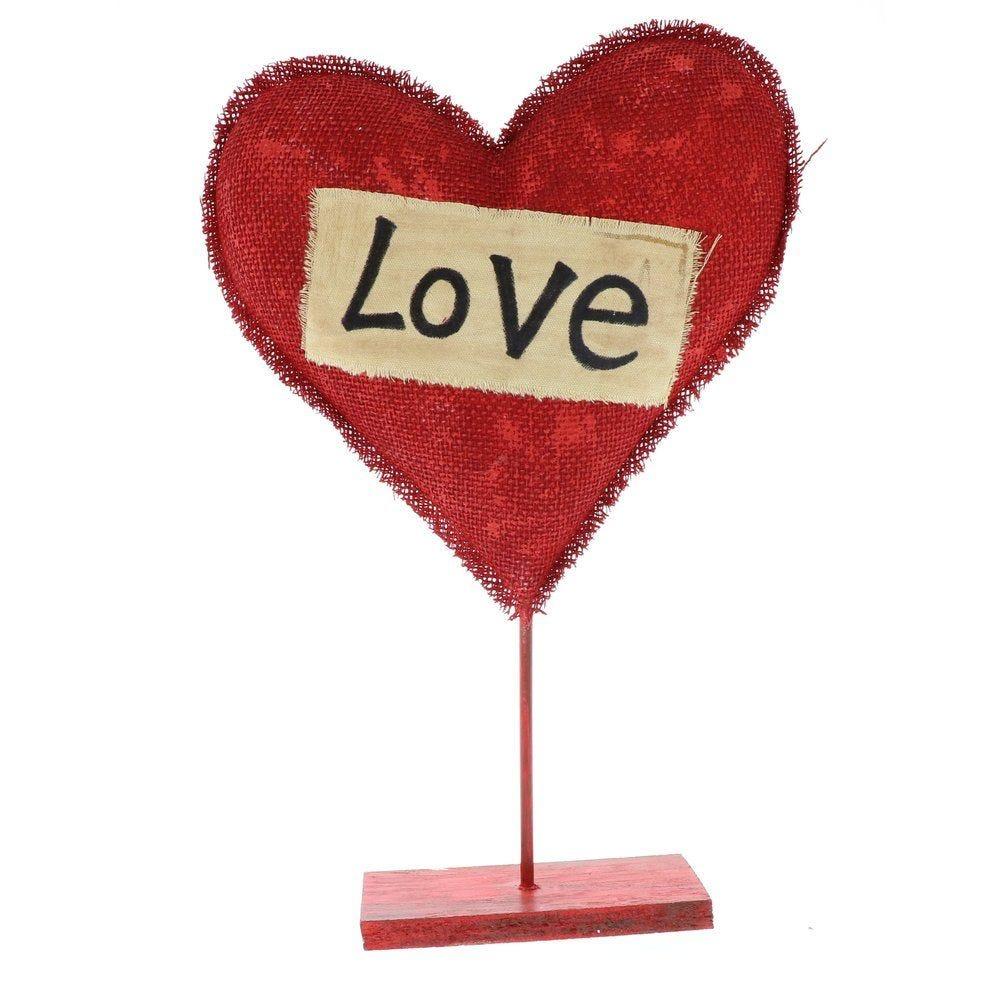 Coeur rouge avec mot LOVE sur pied h.52cm (photo)