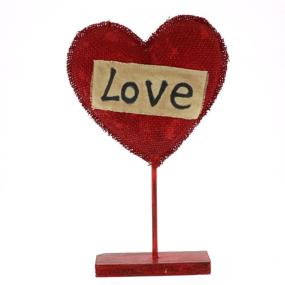 Coeur rouge avec mot LOVE sur pied h.36cm (photo)
