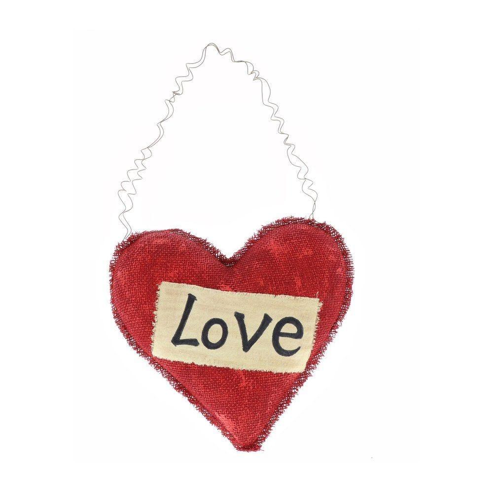 Coeur rouge avec mot LOVE à suspendre 22x21cm (photo)
