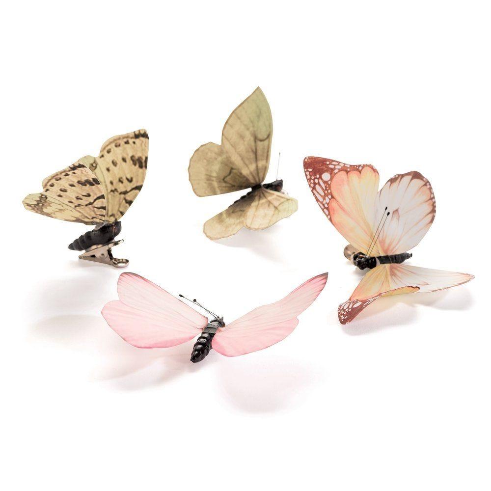 Papillons rose et vert pâle coloris et dimensions assortis par sachet de 4 (photo)