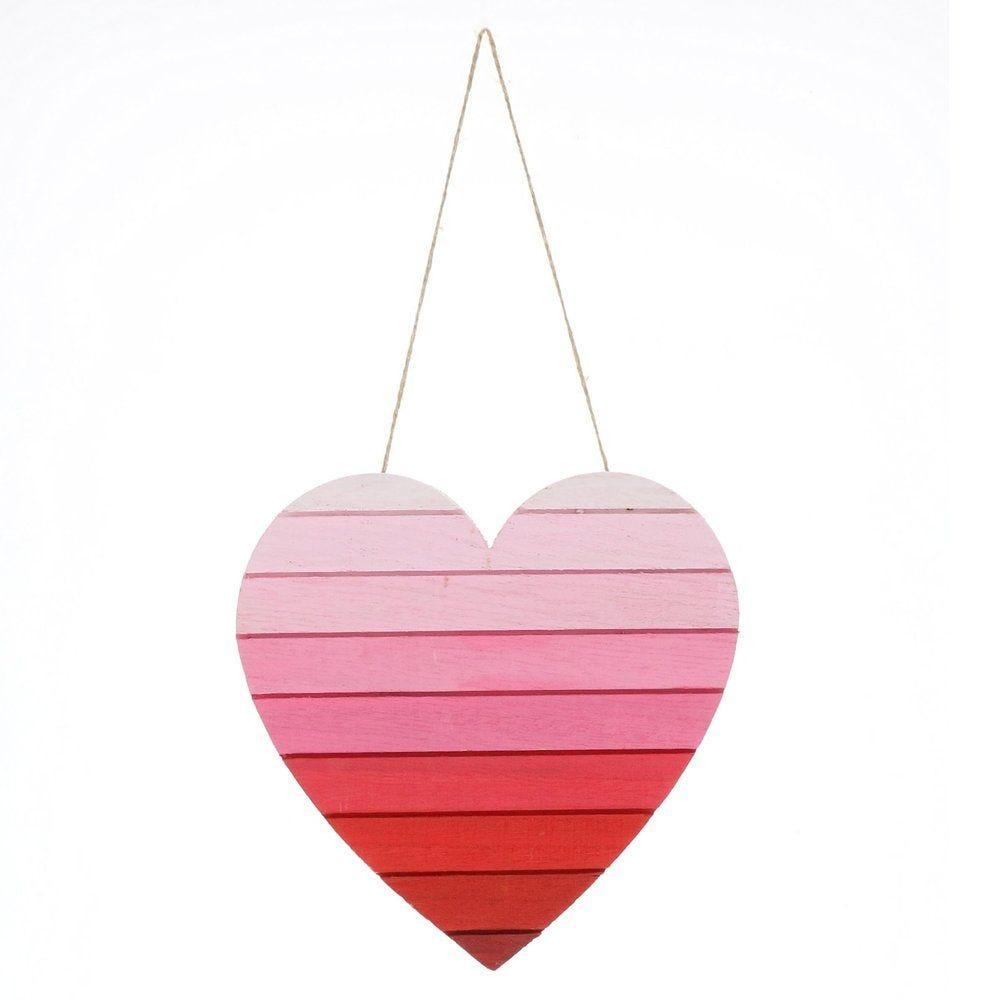 Coeur en bois tie & dye rouge et rose à suspendre 25cm (photo)