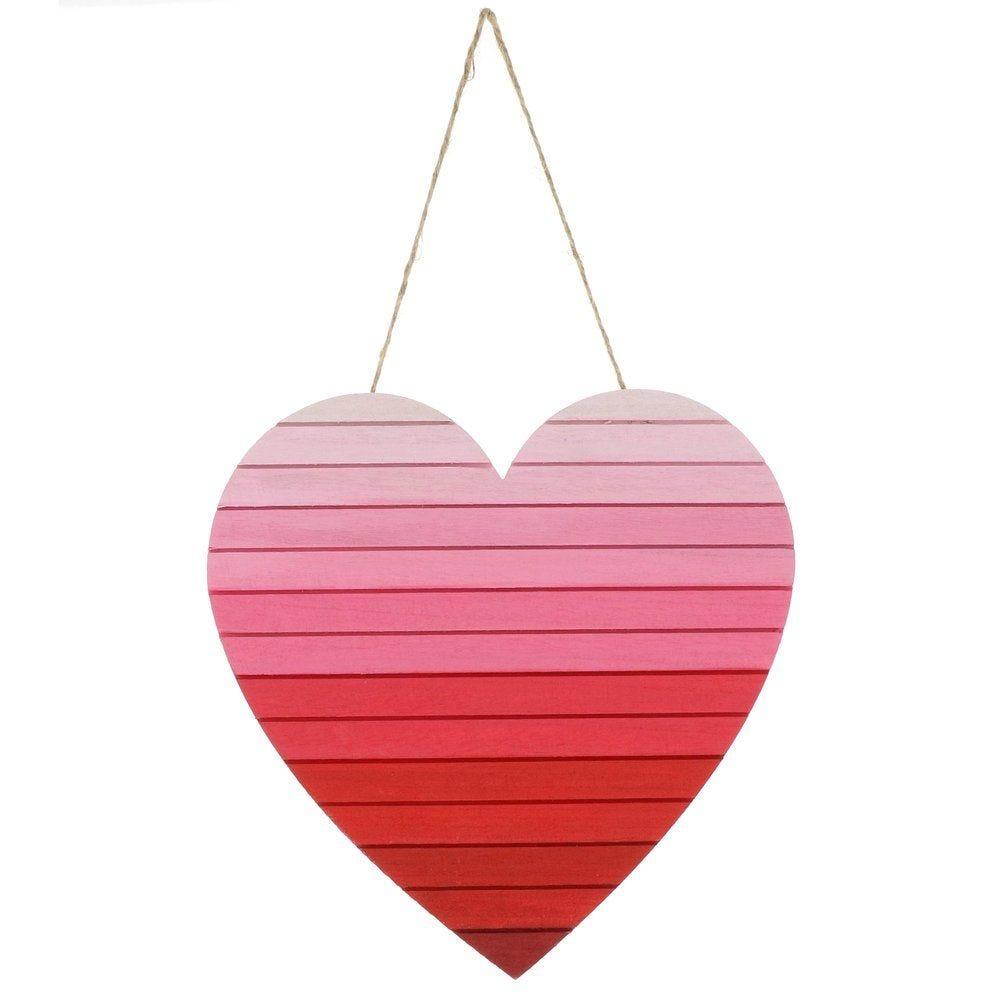 Coeur en bois tie & dye rouge et rose à suspendre 35cm (photo)