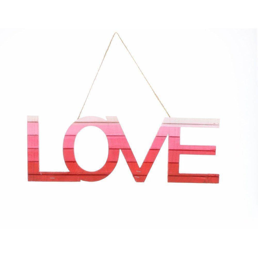 Suspension LOVE en bois tie & dye 45x15cm (photo)