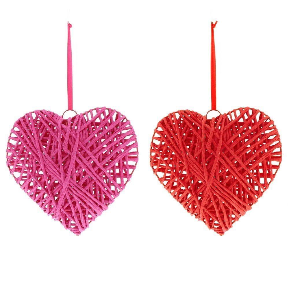 Coeur en rattan 17x6x17cm à suspendre rouge ou rose 2 modèles possibles (photo)