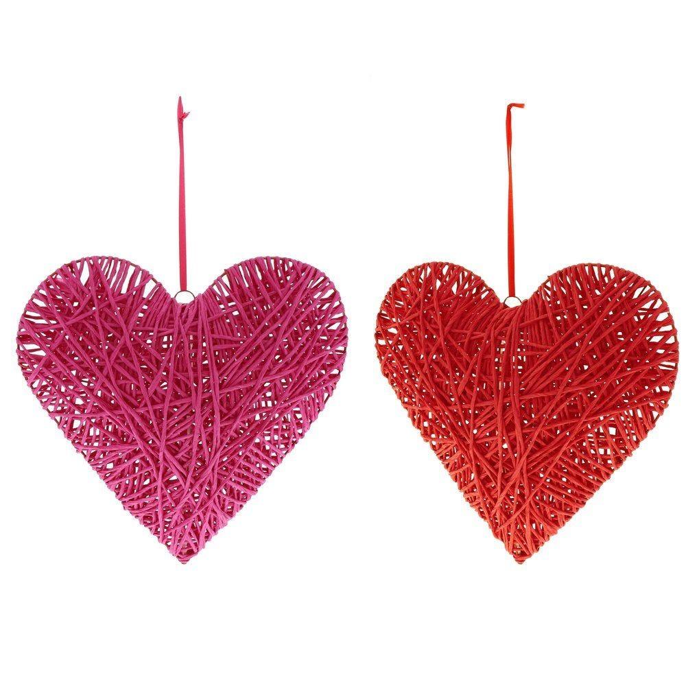 Coeur en rattan 30x9,5x30cm à suspendre rouge ou rose 2 modèles possibles (photo)