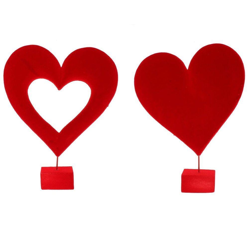 Coeur sur pied rouge creux ou plein au choix h.38cm - 2 modèles possibles (photo)