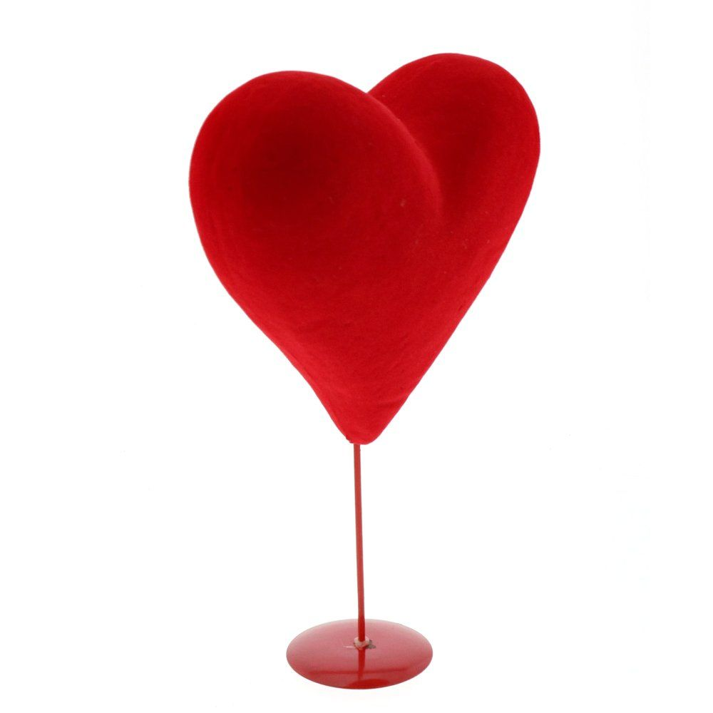 Coeur velours rouge sur pied 20.5 x h.34cm (photo)