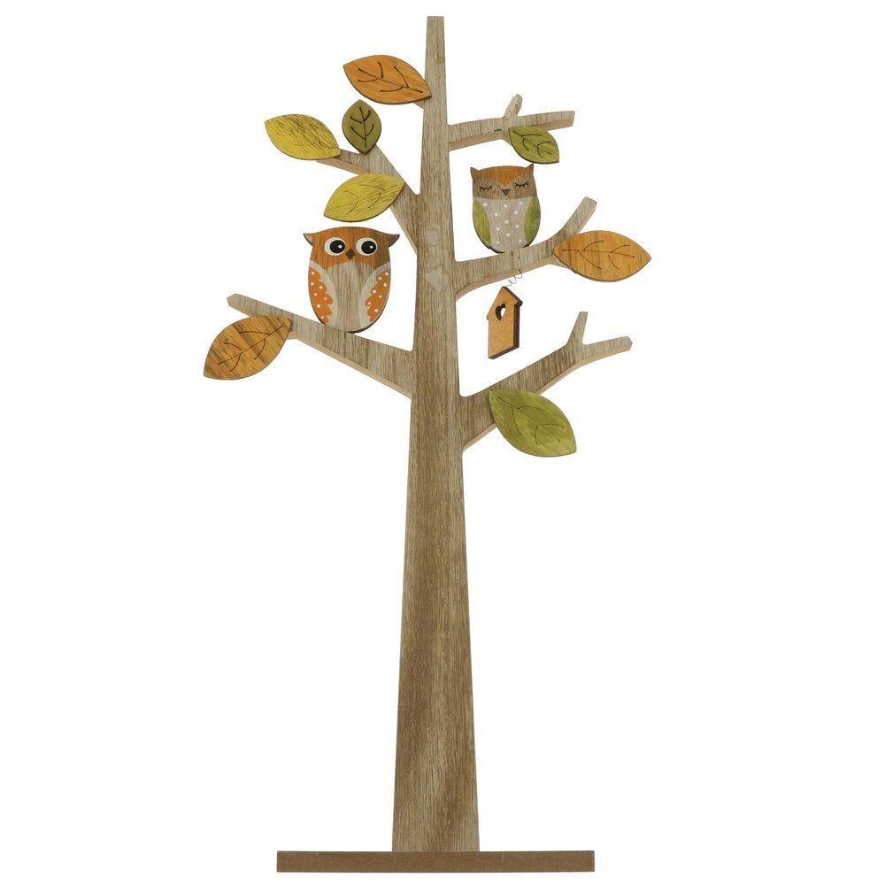 Arbre en bois avec chouettes, feuilles et nid en L 30 x P 7 x H 60 cm (photo)