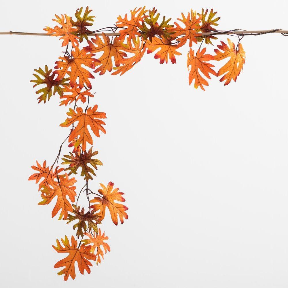 Guirlande de feuilles oranges L 170 cm (photo)