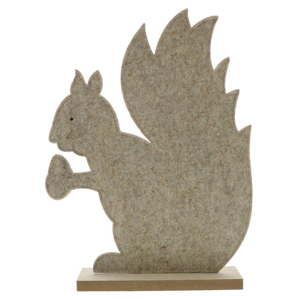 Ecureuil en feutrine beige sur socle en bois L 40 x P 10 x H 53cm (photo)