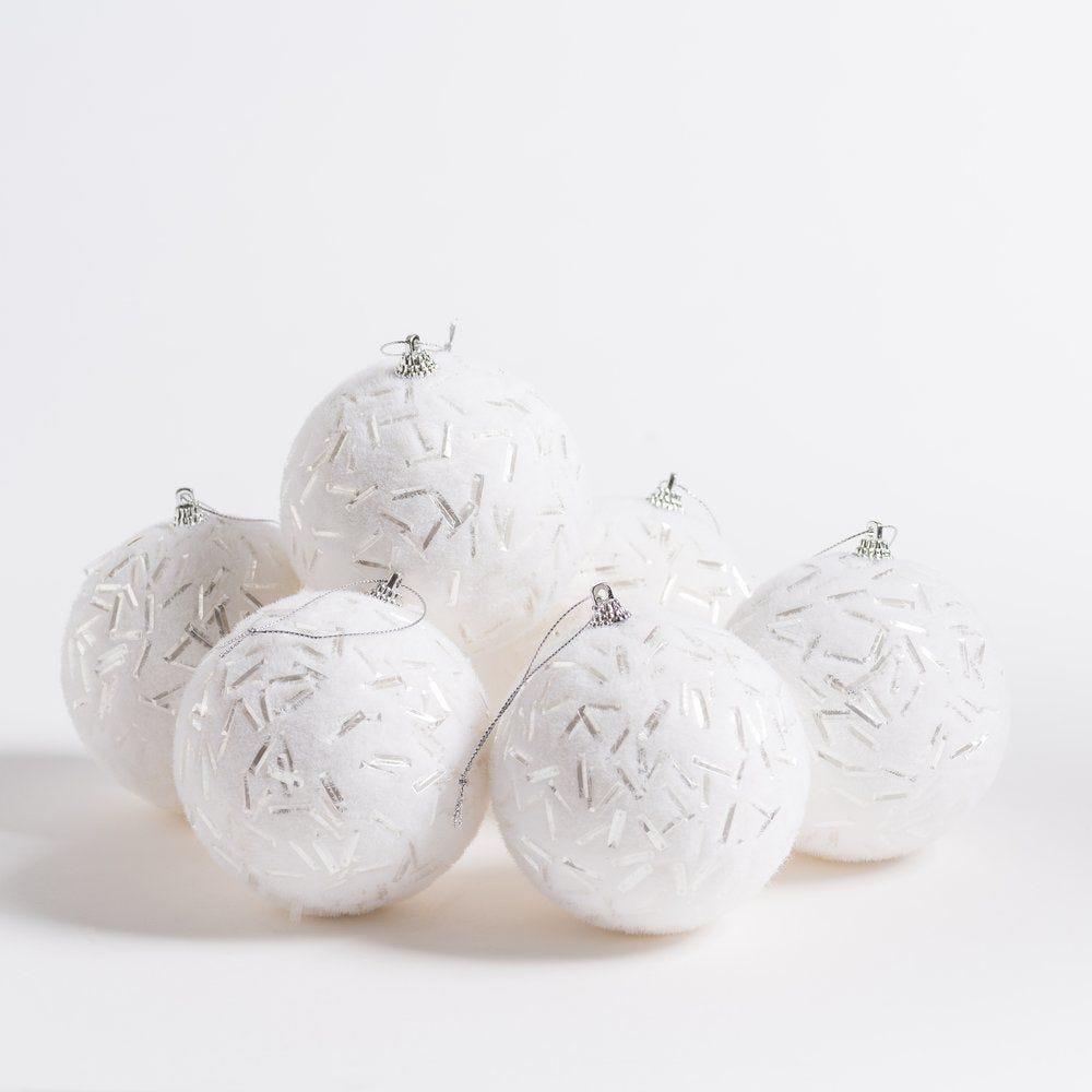 Boules de neige d 10 cm avec éclats argent - boite de 6